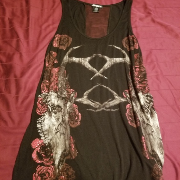 Hot Topic Tops - Deer Skulls and Roses top